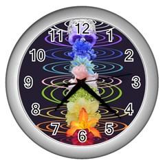 Chakra Spiritual Flower Energy Wall Clocks (silver)  by Simbadda