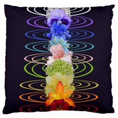 Chakra Spiritual Flower Energy Large Cushion Case (one Side) by Simbadda