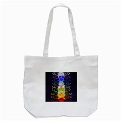 Chakra Spiritual Flower Energy Tote Bag (white) by Simbadda