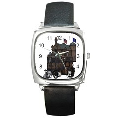Steampunk Lock Fantasy Home Square Metal Watch by Simbadda