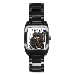 Steampunk Lock Fantasy Home Stainless Steel Barrel Watch by Simbadda