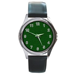 Texture Green Rush Easter Round Metal Watch by Simbadda