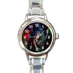 Abstraction Dive From Inside Round Italian Charm Watch by Simbadda