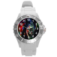 Abstraction Dive From Inside Round Plastic Sport Watch (l) by Simbadda