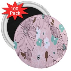 Background Texture Flowers Leaves Buds 3  Magnets (100 Pack) by Simbadda