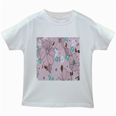 Background Texture Flowers Leaves Buds Kids White T Shirts by Simbadda