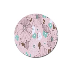 Background Texture Flowers Leaves Buds Magnet 3  (round) by Simbadda