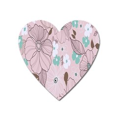 Background Texture Flowers Leaves Buds Heart Magnet by Simbadda