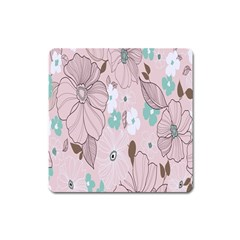 Background Texture Flowers Leaves Buds Square Magnet by Simbadda