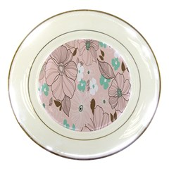 Background Texture Flowers Leaves Buds Porcelain Plates by Simbadda