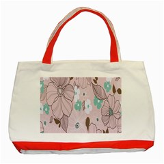 Background Texture Flowers Leaves Buds Classic Tote Bag (red) by Simbadda