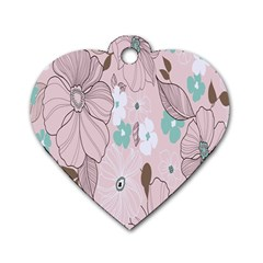 Background Texture Flowers Leaves Buds Dog Tag Heart (one Side) by Simbadda