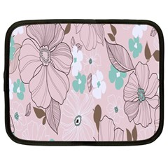 Background Texture Flowers Leaves Buds Netbook Case (xl)  by Simbadda