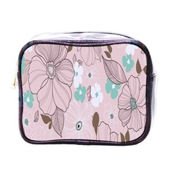Background Texture Flowers Leaves Buds Mini Toiletries Bags by Simbadda