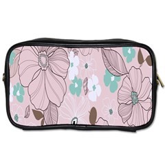 Background Texture Flowers Leaves Buds Toiletries Bags by Simbadda