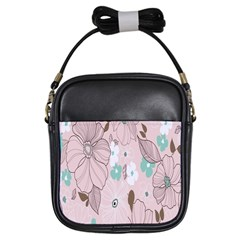 Background Texture Flowers Leaves Buds Girls Sling Bags by Simbadda