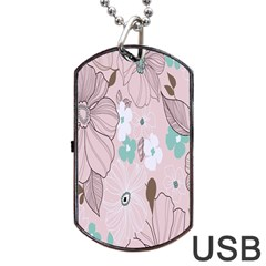 Background Texture Flowers Leaves Buds Dog Tag Usb Flash (one Side) by Simbadda