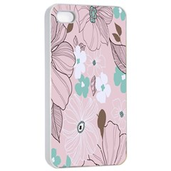 Background Texture Flowers Leaves Buds Apple Iphone 4/4s Seamless Case (white) by Simbadda