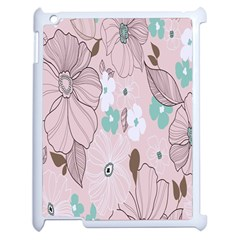 Background Texture Flowers Leaves Buds Apple Ipad 2 Case (white) by Simbadda