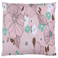 Background Texture Flowers Leaves Buds Large Cushion Case (two Sides) by Simbadda