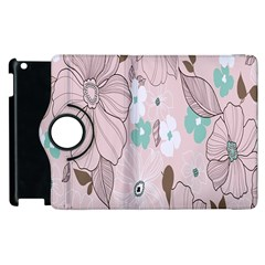 Background Texture Flowers Leaves Buds Apple Ipad 3/4 Flip 360 Case by Simbadda