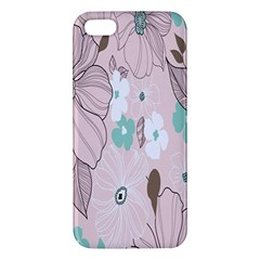Background Texture Flowers Leaves Buds Apple Iphone 5 Premium Hardshell Case by Simbadda