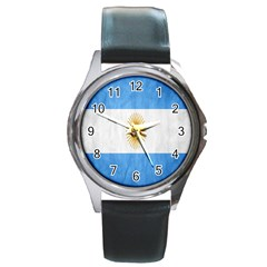 Argentina Texture Background Round Metal Watch by Simbadda