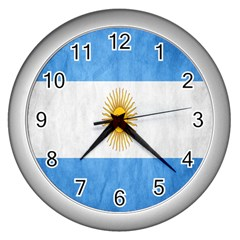 Argentina Texture Background Wall Clocks (silver)  by Simbadda
