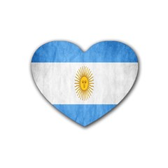 Argentina Texture Background Rubber Coaster (heart)  by Simbadda