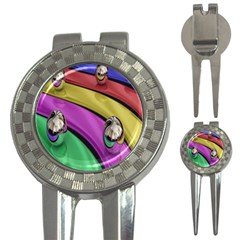 Balloons Colorful Rainbow Metal 3 In 1 Golf Divots by Simbadda