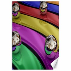 Balloons Colorful Rainbow Metal Canvas 12  X 18   by Simbadda