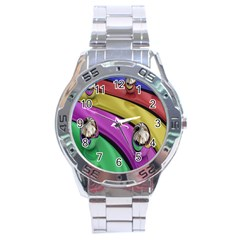 Balloons Colorful Rainbow Metal Stainless Steel Analogue Watch by Simbadda