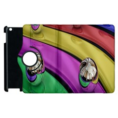 Balloons Colorful Rainbow Metal Apple Ipad 2 Flip 360 Case by Simbadda