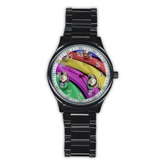 Balloons Colorful Rainbow Metal Stainless Steel Round Watch by Simbadda