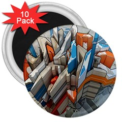 Abstraction Imagination City District Building Graffiti 3  Magnets (10 Pack)  by Simbadda