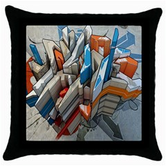Abstraction Imagination City District Building Graffiti Throw Pillow Case (black) by Simbadda