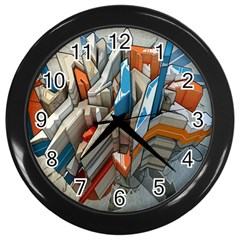 Abstraction Imagination City District Building Graffiti Wall Clocks (black) by Simbadda