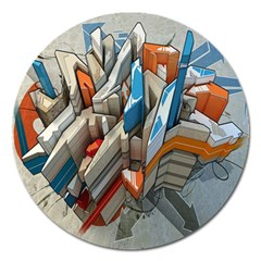 Abstraction Imagination City District Building Graffiti Magnet 5  (round) by Simbadda