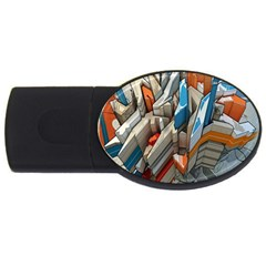 Abstraction Imagination City District Building Graffiti Usb Flash Drive Oval (2 Gb) by Simbadda