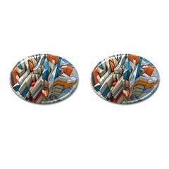 Abstraction Imagination City District Building Graffiti Cufflinks (oval) by Simbadda