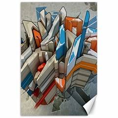 Abstraction Imagination City District Building Graffiti Canvas 24  X 36  by Simbadda