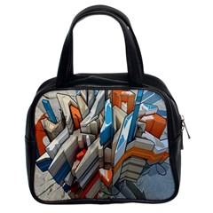 Abstraction Imagination City District Building Graffiti Classic Handbags (2 Sides) by Simbadda