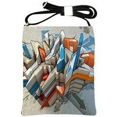Abstraction Imagination City District Building Graffiti Shoulder Sling Bags by Simbadda