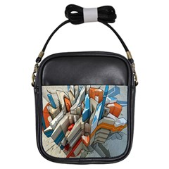 Abstraction Imagination City District Building Graffiti Girls Sling Bags by Simbadda
