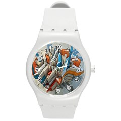 Abstraction Imagination City District Building Graffiti Round Plastic Sport Watch (m) by Simbadda