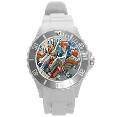 Abstraction Imagination City District Building Graffiti Round Plastic Sport Watch (l) by Simbadda