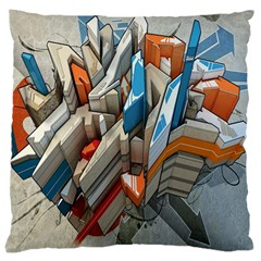 Abstraction Imagination City District Building Graffiti Large Cushion Case (two Sides) by Simbadda