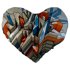 Abstraction Imagination City District Building Graffiti Large 19  Premium Heart Shape Cushions by Simbadda