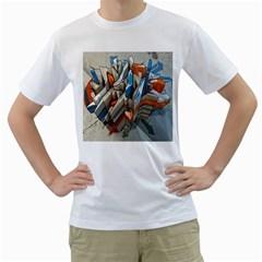 Abstraction Imagination City District Building Graffiti Men s T Shirt (white)  by Simbadda