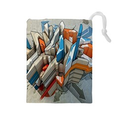 Abstraction Imagination City District Building Graffiti Drawstring Pouches (large)  by Simbadda